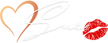 Sue Brown-Moore, signature with lipstick kiss (red orange for dark background)