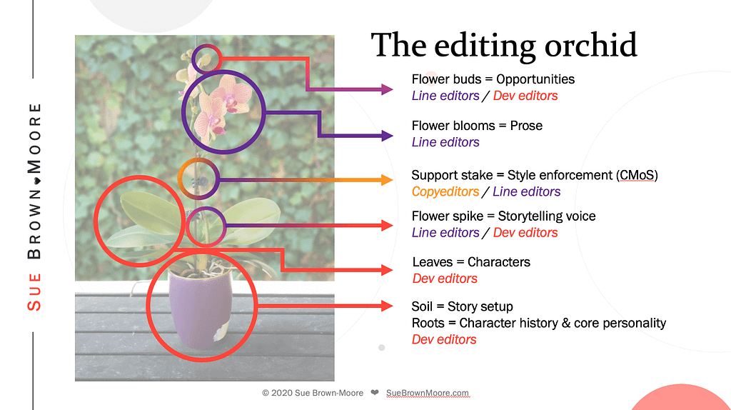 The responsibilities of fiction editors explained with the parts of an orchid
